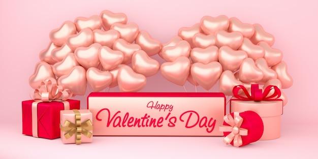 Realistische gelukkige valentijnsdag achtergrond met geschenkdozen en hartvorm ballonnen decoraties
