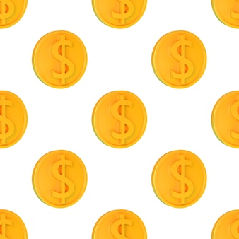 Realistische gouden 3d munten met dollarteken naadloze patroon