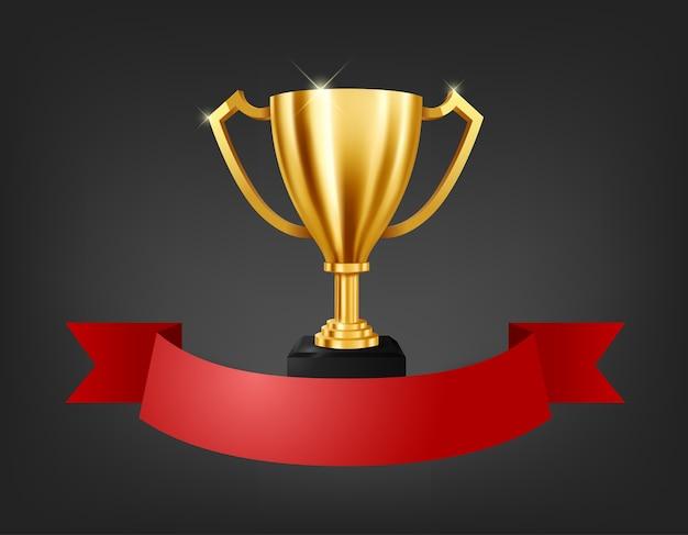 Realistische gouden trofee met tekstruimte op rood lint