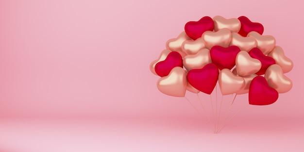 Realistische happy valentijnsdag achtergrond met hart vorm ballonnen decoraties