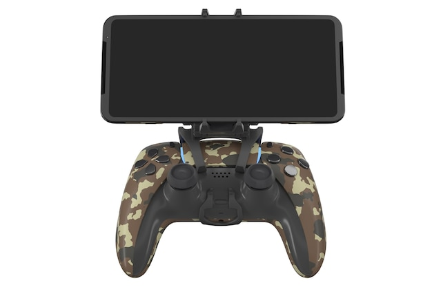 Realistische joystick voor het spelen van games op een mobiele telefoon geïsoleerd op een witte achtergrond met uitknippad. 3d-weergave van camouflage gekleurde videogamecontroller