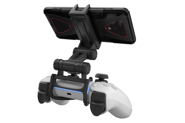 Realistische joystick voor het spelen van games op een mobiele telefoon geïsoleerd op een witte achtergrond met uitknippad. 3d-weergave van het streamen van videogames
