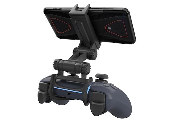 Realistische joystick voor het spelen van games op een mobiele telefoon geïsoleerd op een witte achtergrond met uitknippad. 3d-weergave van het streamen van videogames Premium Foto