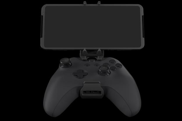 Realistische joystick voor het spelen van games op een mobiele telefoon geïsoleerd op zwart