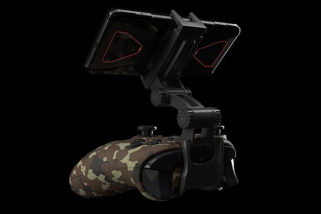 Realistische joystick voor het spelen van games op een mobiele telefoon geïsoleerd op zwarte achtergrond met uitknippad. 3d-weergave van camouflage gekleurde videogamecontroller