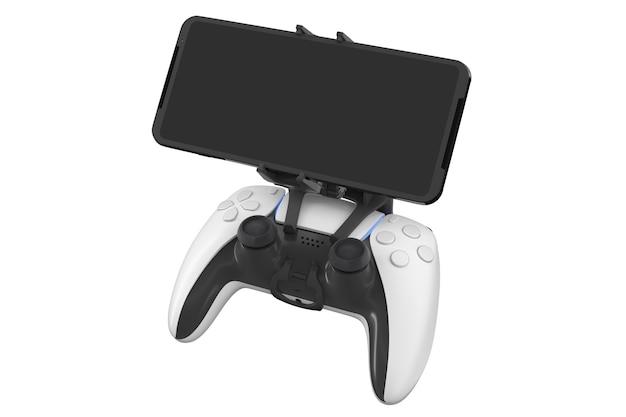 Realistische joystick voor het spelen van games op een mobiele telefoon op wit wordt geïsoleerd