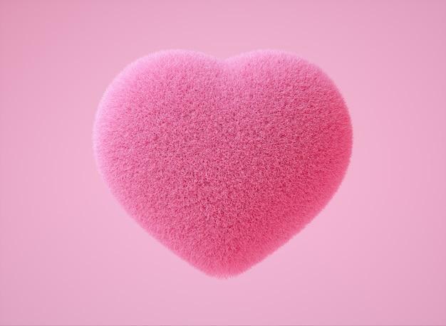 Realistische kleurrijke 3d-afbeelding met zachte roze kleur van pluizig hart op lichtroze achtergrond de belangrijkste boodschap rondom liefde