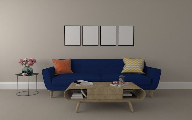 Realistische mockup van 3d weergegeven van interieur van moderne woonkamer met bank - bank en tafel