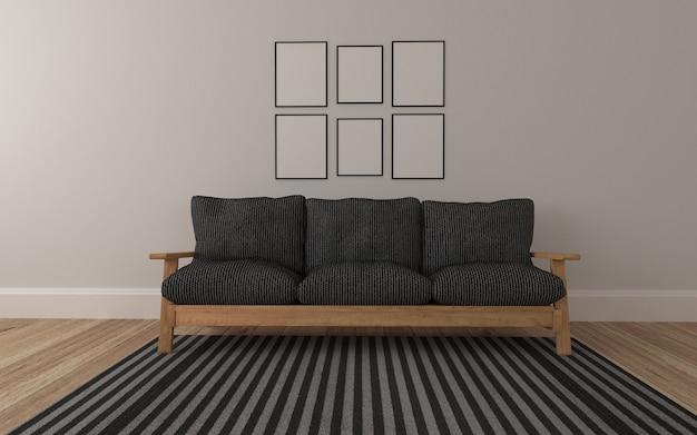 Realistische mockup van 3d weergegeven van interieur van moderne woonkamer met sofa en frame