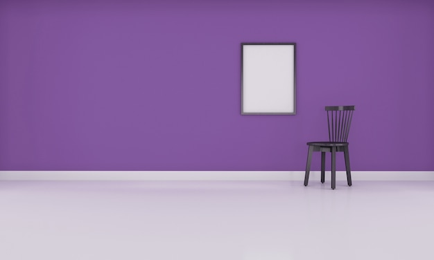Realistische moderne neutrale lege kamer interieurruimte met paarse muur 3d-rendering