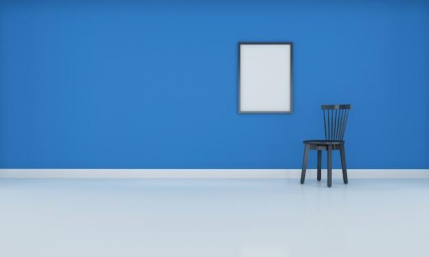 Realistische moderne neutrale lege zaal binnenlandse ruimte met het blauwe muur 3d teruggeven