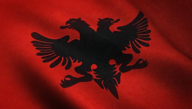 Realistische opname van de wapperende vlag van alabama met interessante texturen