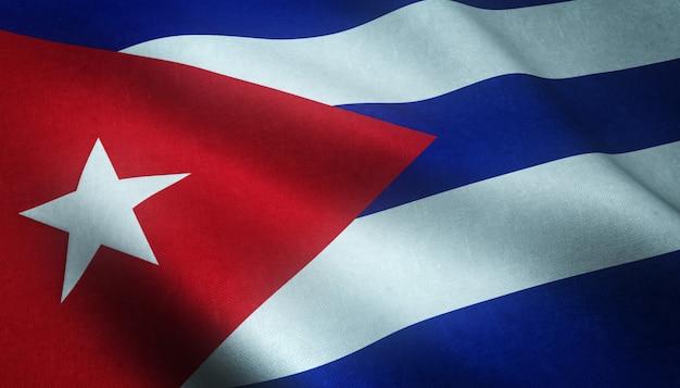 Realistische opname van de wapperende vlag van cuba met interessante texturen