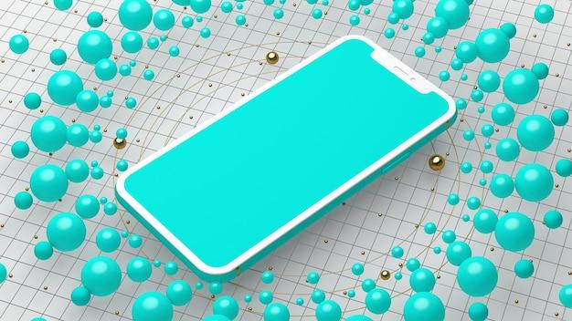 Realistische smartphone met leeg scherm, perspectief, futuristisch technologieconcept