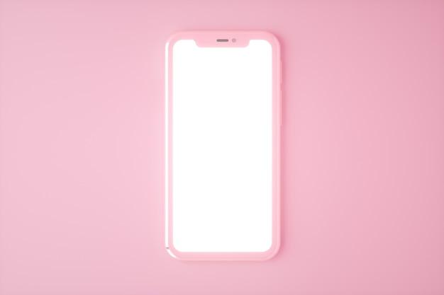 Realistische smartphone mockup set, 3d render. mobiele telefoon leeg, wit schermontwerp. roze kleur