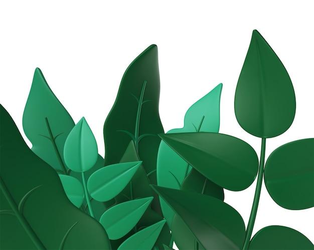 Realistische tropische 3d bladeren sjabloon 3d jungle bos exotisch blad bloemen plantenparadijs
