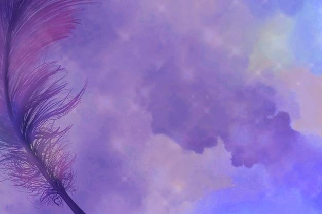 Realistische veer op paarse achtergrond