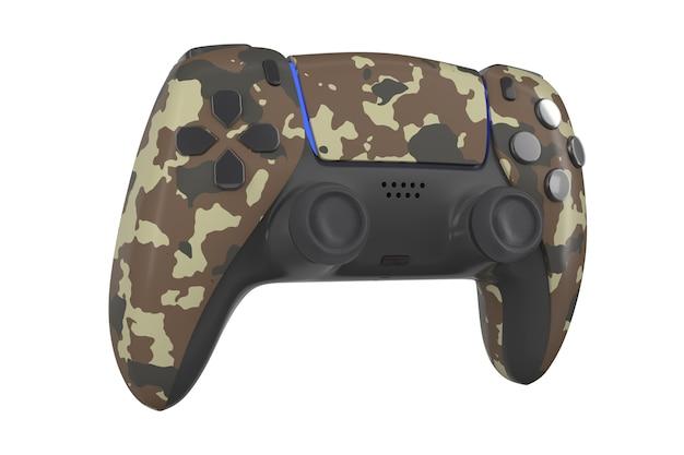 Realistische video game controller geïsoleerd op wit met uitknippad. 3d-weergave van camouflagegekleurde streamingapparatuur en gamer-werkruimteconcept