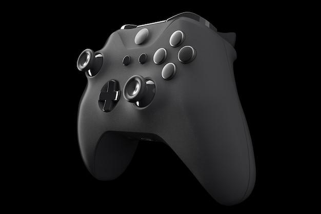 Realistische videogamecontroller geïsoleerd op zwart met uitknippad