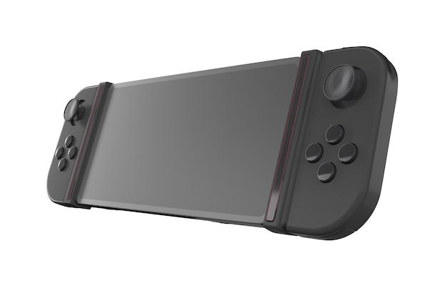 Realistische videogamecontrollers aangesloten op mobiele telefoon geïsoleerd op wit