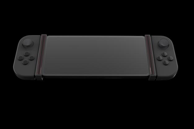 Realistische videogamecontrollers aangesloten op mobiele telefoon geïsoleerd op zwart
