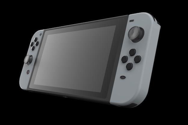 Realistische videogamecontrollers aangesloten op touchscreen geïsoleerd op zwart