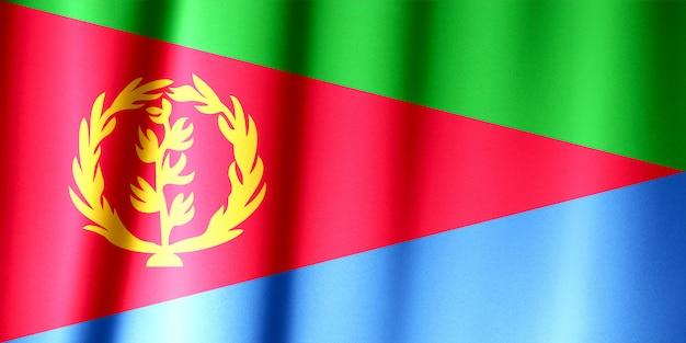 Realistische vlag van eritrea op het golvende oppervlak van stof.