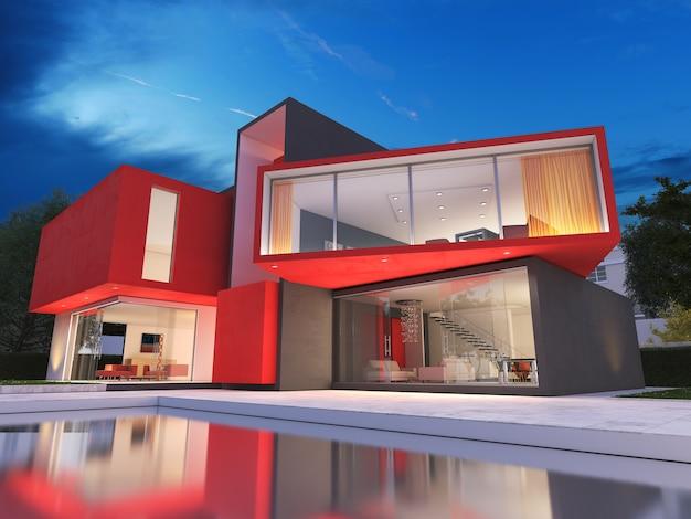 Realistische weergave van een zeer modern luxe rood huis