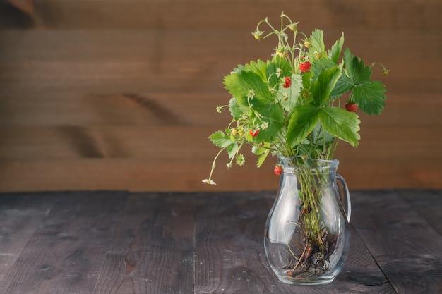 Recepten voedsel en cosmetica huis met bos aardbeien