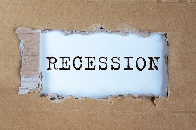 Recessie woord inscriptie. economiecrisis en ineenstorting.