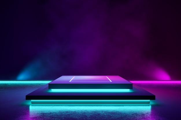 Rechthoek podium met rook en paars neonlicht