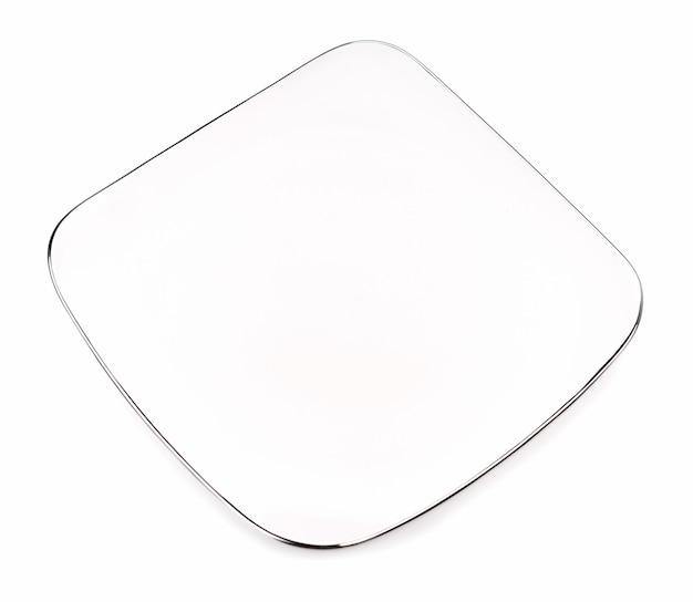Rechthoekig bord met zilver op een wit