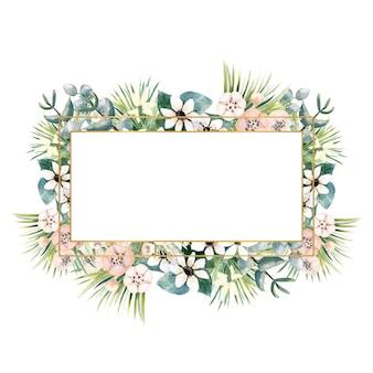 Rechthoekig gouden frame met kleine bloemen van actinidia bouvardia tropisch en palmbladeren