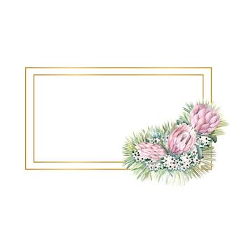 Rechthoekig gouden frame met proteabloemen, tropische bladeren, palmbladeren, bouvardiabloemen