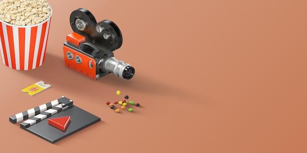 Rechthoekige oranje flat-lay-up bovenbanner met fotorealistische bioscoopitems