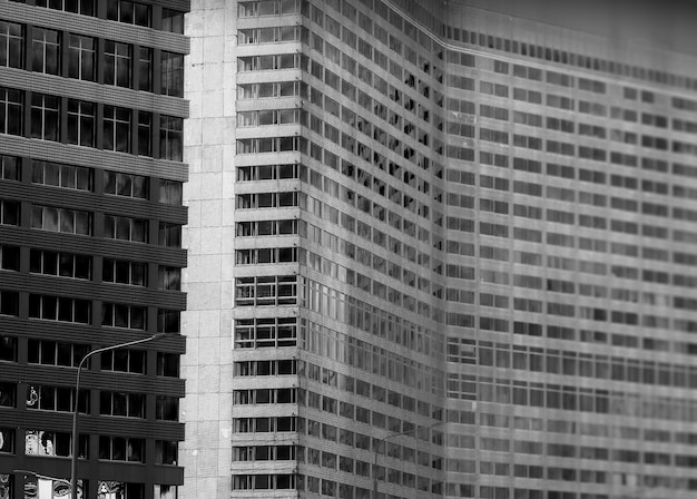 Rechts uitgelijnd ussr gebouw bokeh achtergrond