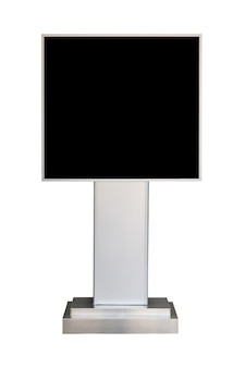 Reclame stand bord met zwart scherm geïsoleerd op een witte achtergrond