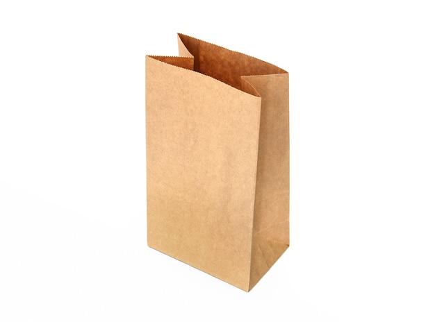 Recycle bruine papieren zak geïsoleerde witte achtergrond Premium Foto