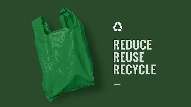 Recycle-campagnebanner voor hergebruik verminderen met groene plastic zak