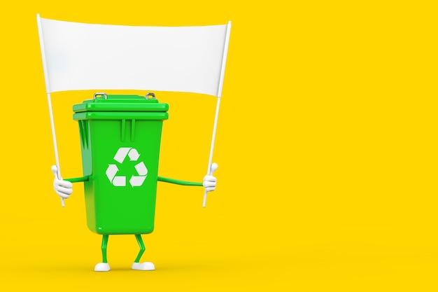 Recycle teken groene vuilnis prullenbak karakter mascotte en lege witte lege banner met vrije ruimte voor uw ontwerp op een gele achtergrond. 3d-rendering