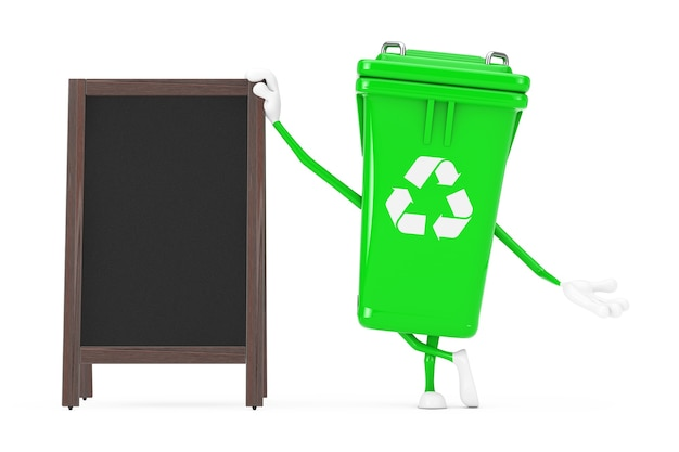 Recycle teken groene vuilnis prullenbak karakter mascotte met lege houten menu schoolborden buiten display op een witte achtergrond. 3d-rendering
