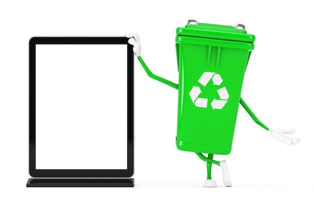 Recycle teken groene vuilnis prullenbak karakter mascotte met lege trade show lcd-scherm staan als sjabloon voor uw ontwerp op een witte achtergrond. 3d-rendering