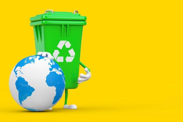 Recycle teken groene vuilnisbak karakter mascotte met earth globe op een gele achtergrond. 3d-rendering