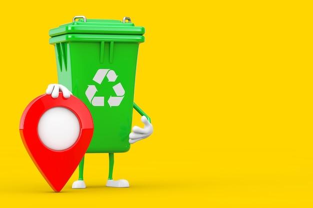 Recycle teken groene vuilnisbak karakter mascotte met kaart aanwijzer doel pin op een gele achtergrond. 3d-rendering
