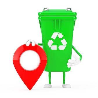 Recycle teken groene vuilnisbak karakter mascotte met kaart aanwijzer doel pin op een witte achtergrond. 3d-rendering