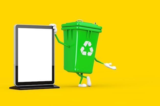 Recycle teken groene vuilnisbak karakter mascotte met lege trade show lcd-scherm staan als sjabloon voor uw ontwerp op een gele achtergrond. 3d-rendering