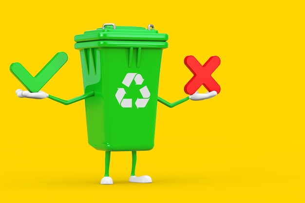 Recycle teken groene vuilnisbak karakter mascotte met rode kruis en groen vinkje, bevestigen of ontkennen, ja of nee pictogram teken op een gele achtergrond. 3d-rendering