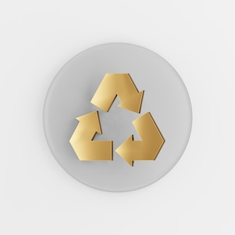 Recycling gouden symboolpictogram. 3d-rendering grijze ronde sleutelknop, interface ui ux-element.