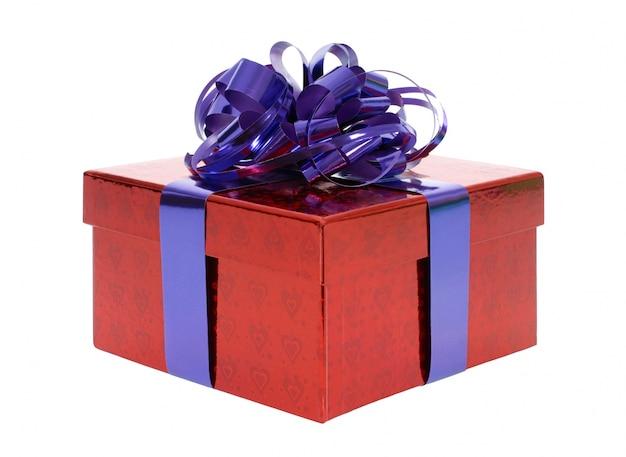 Red geschenk doos met blauwe strik