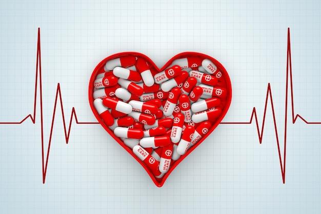 Red heart box met pillen op een cardiogram achtergrond extreme close-up. 3d-rendering.